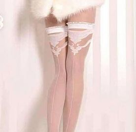 Bridal Ivory or White Holdup Stockings with Seams